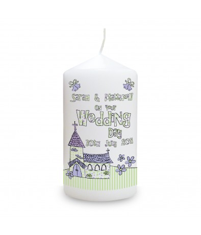 Whimsical Church Wedding Personalised Candle