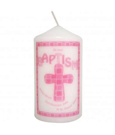 Pink Baptism Personalised Candle