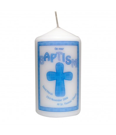 Blue Baptism Personalised Candle