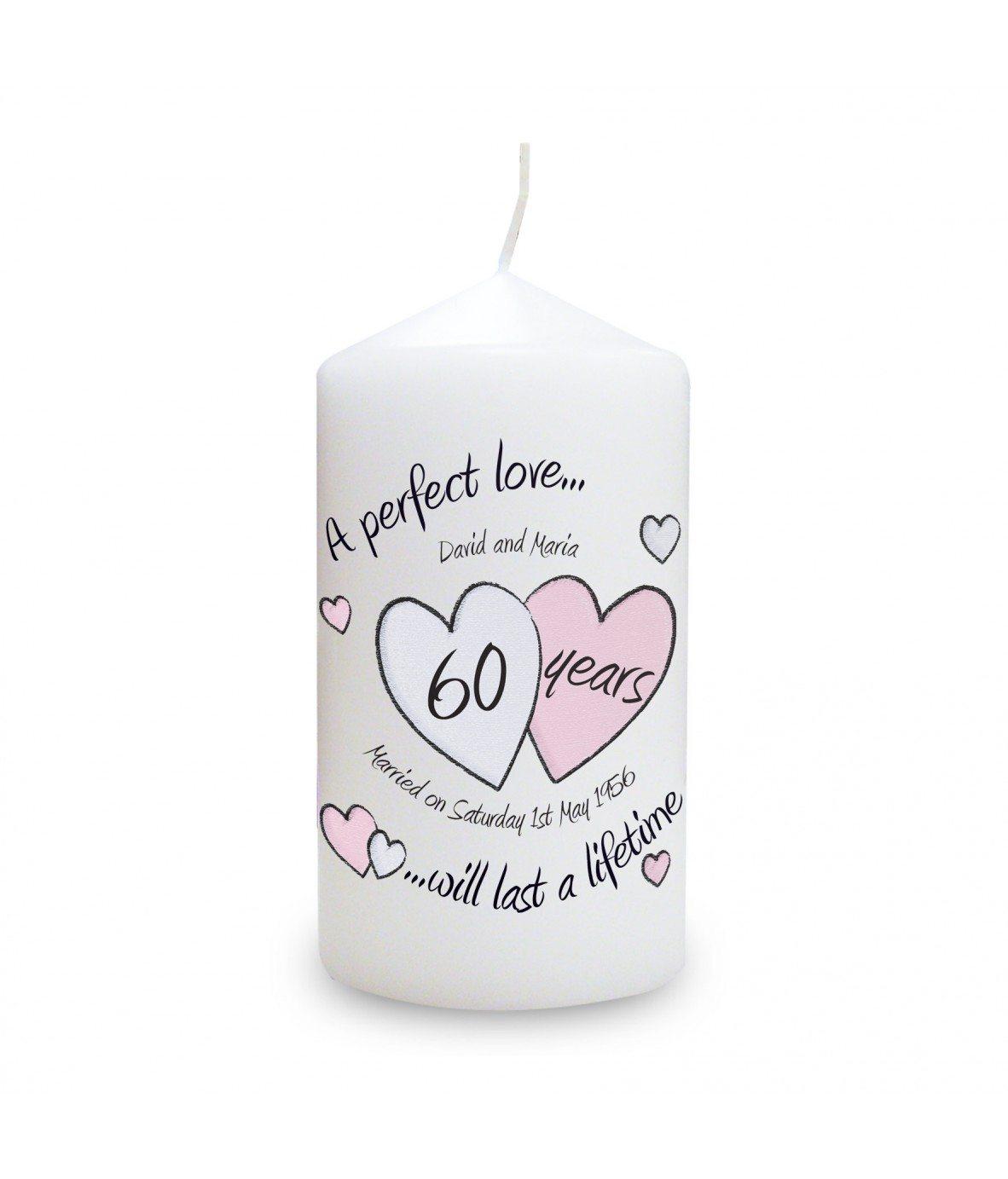 This beautiful candle makes a lovely gift to celebrate a diamond anniversary ...