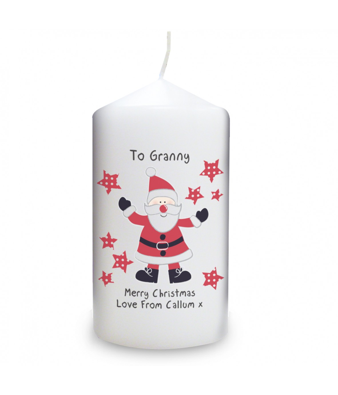 spotty santa personalised candle. Black Bedroom Furniture Sets. Home Design Ideas