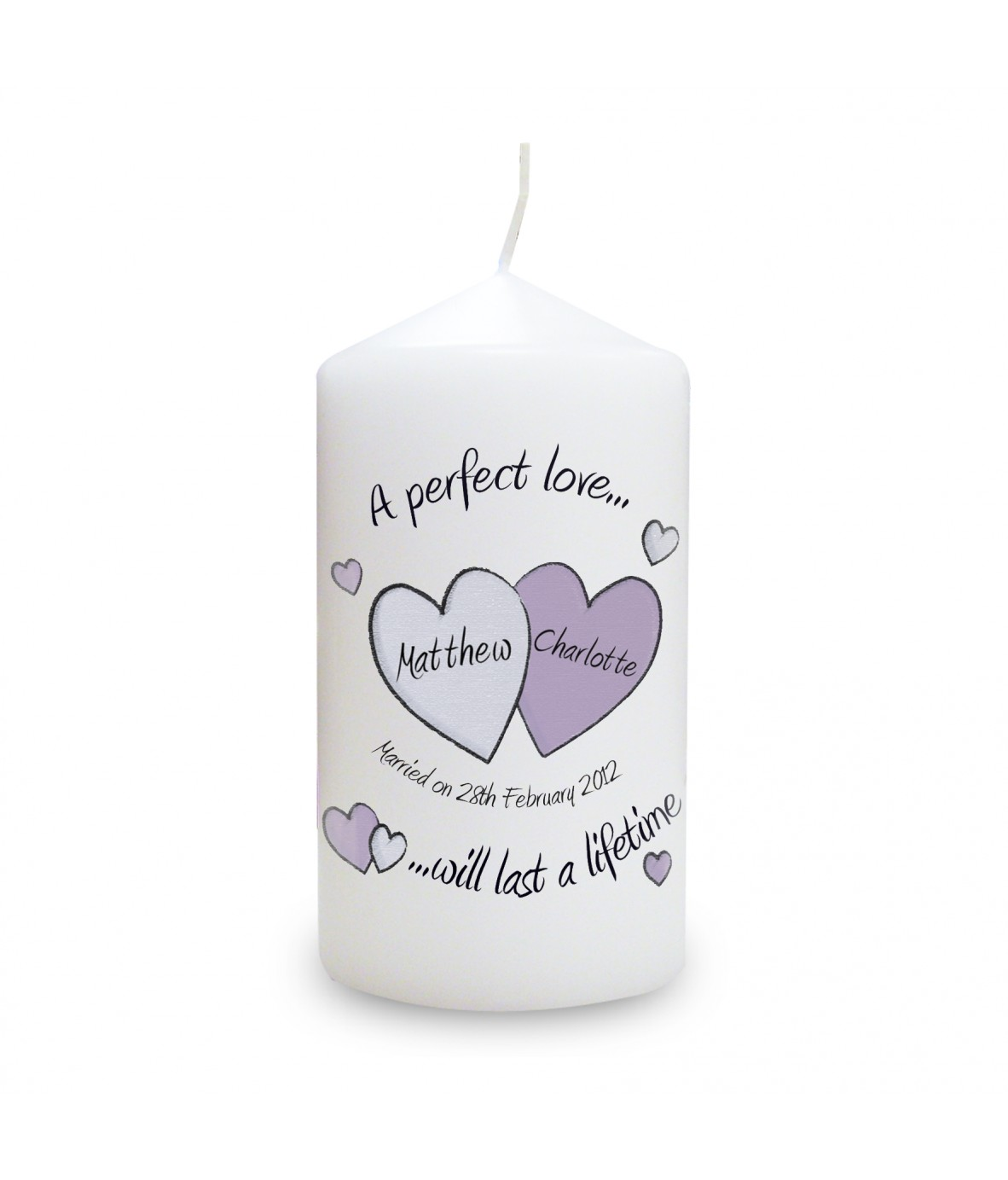 a perfect love wedding personalised candle personalised candles