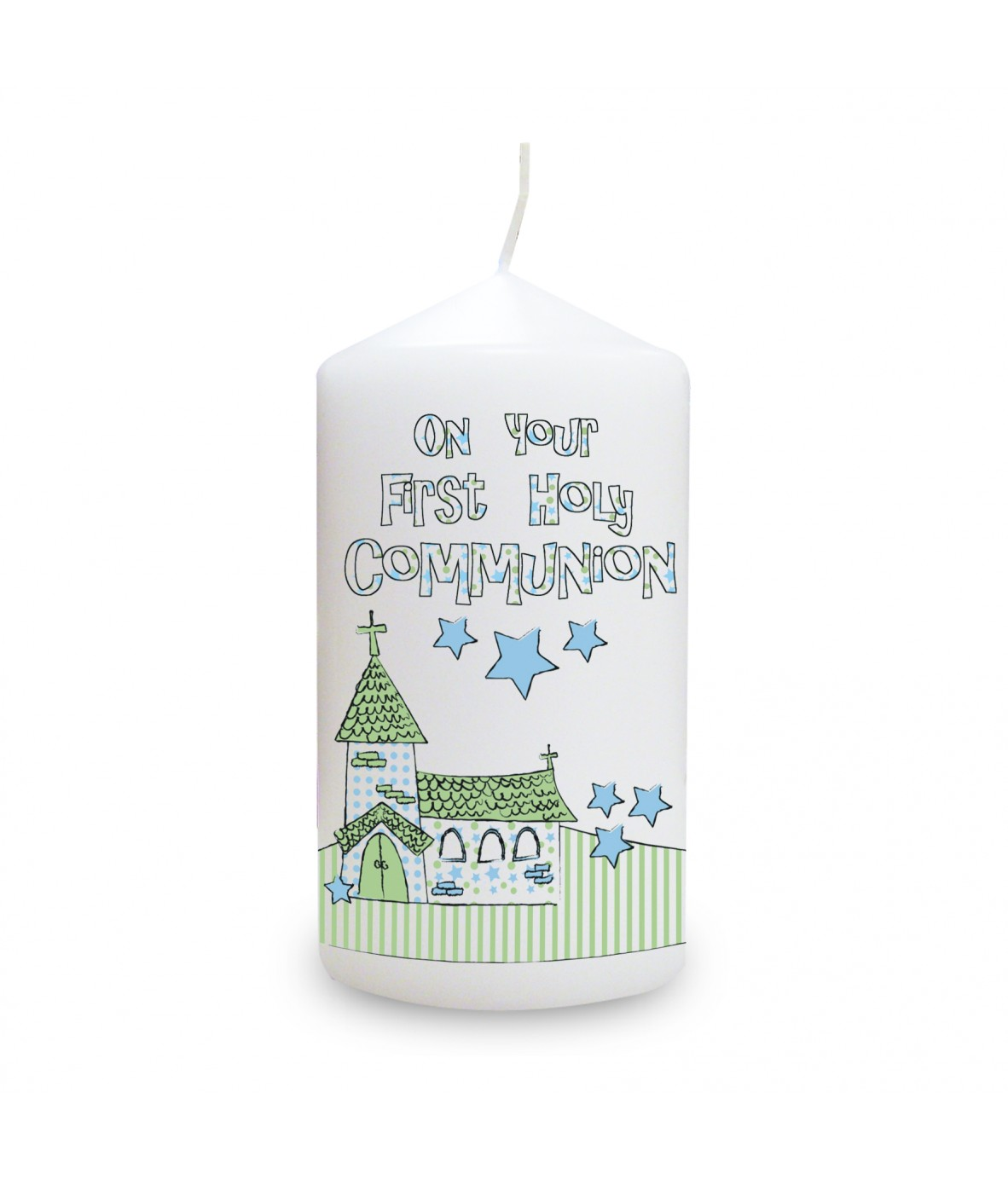 Blue first holy communion church candle personalised candles