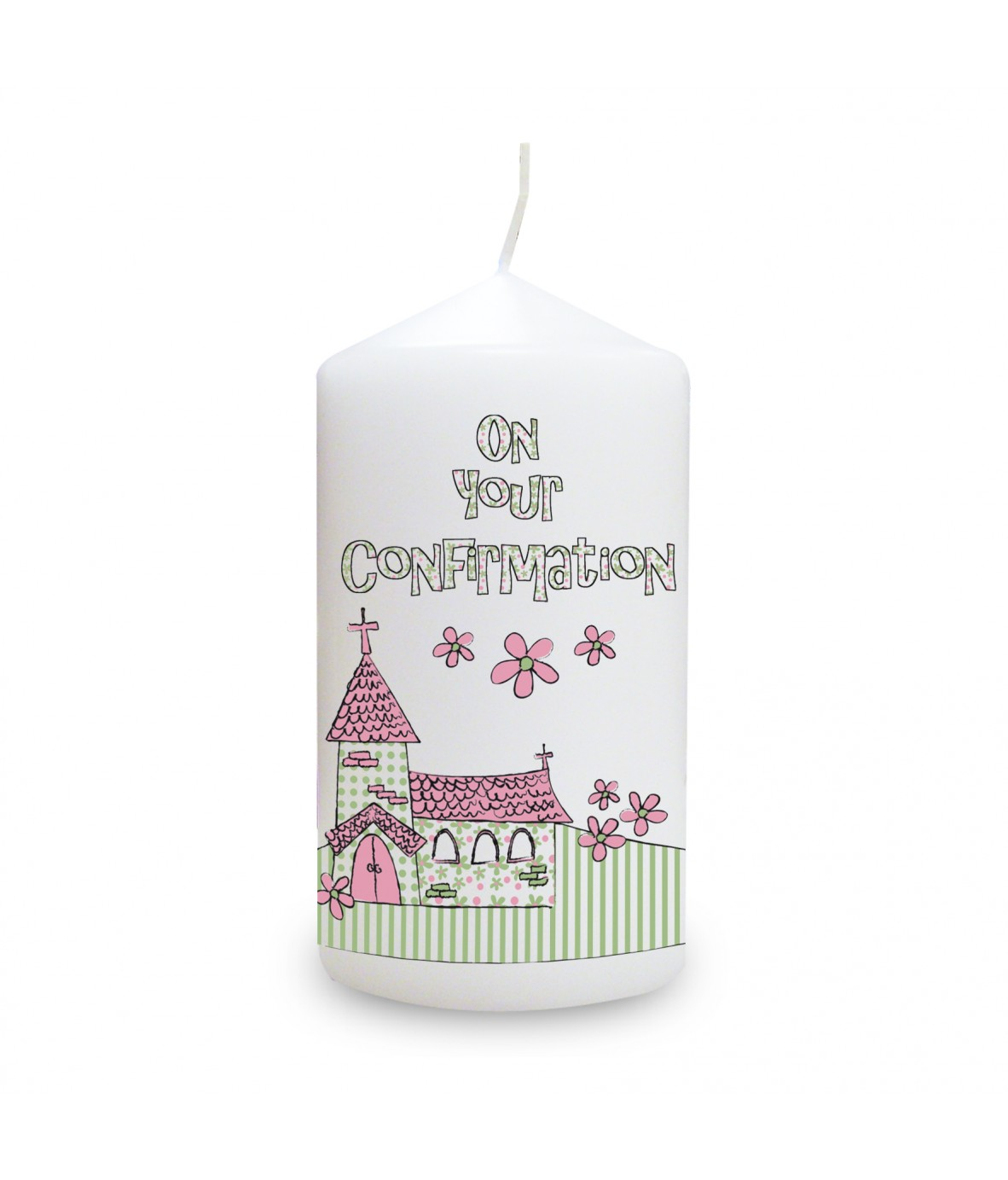 Pink confirmation church candle personalised candles