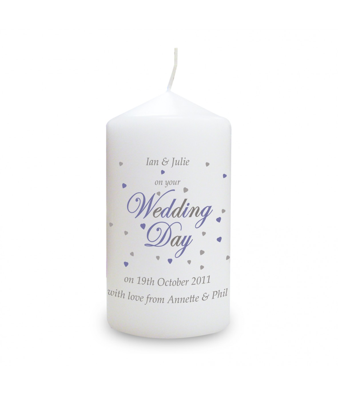 wedding day personalised candle personalised candles