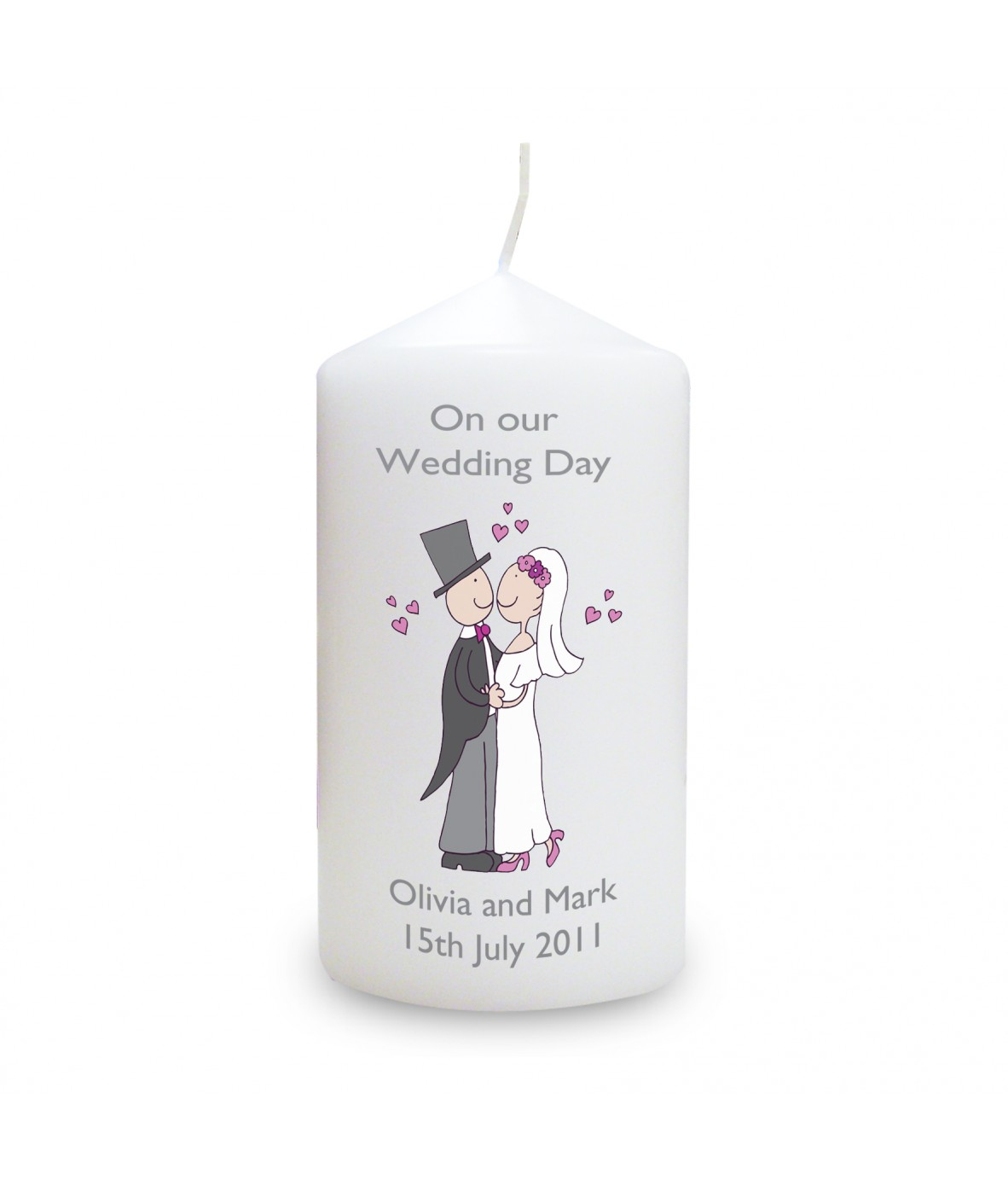 cartoon couple personalised candle personalised candles