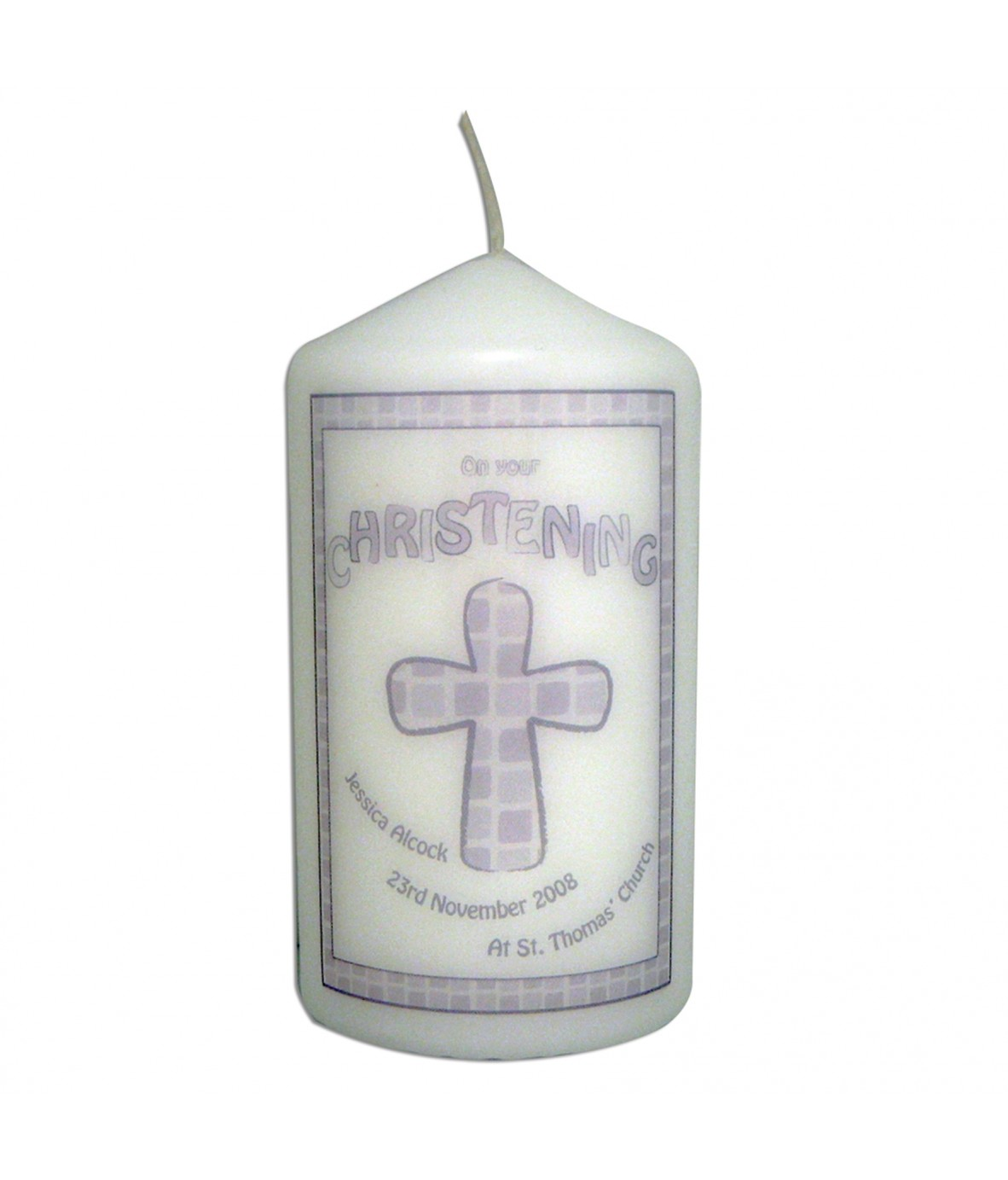 Grey christening personalised candle personalised candles