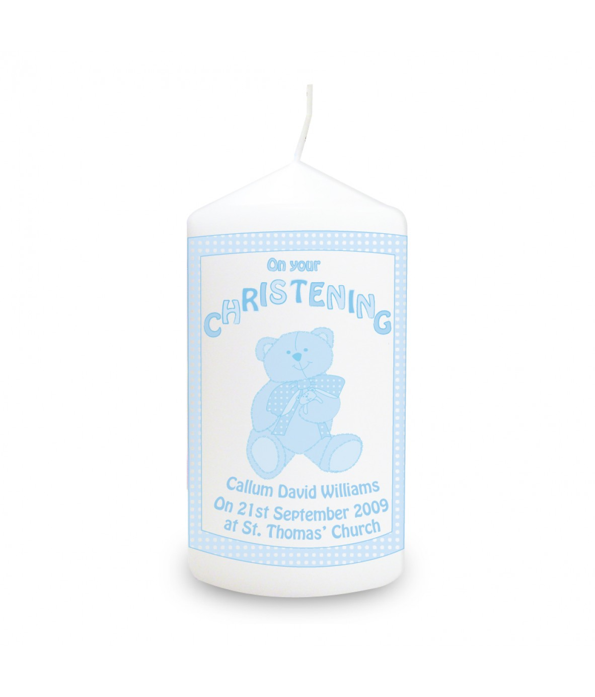 Teddy blue christening personalised candle personalised candles